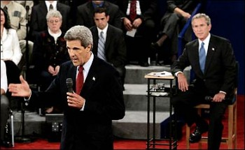 Senator John Kerry and President George W. Bush face off at 2004 debate. (NY Times Photo)