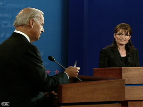 Sen. Joe Biden and Gov. Sarah Palin on the 2008 debate stage. (CNN photo)