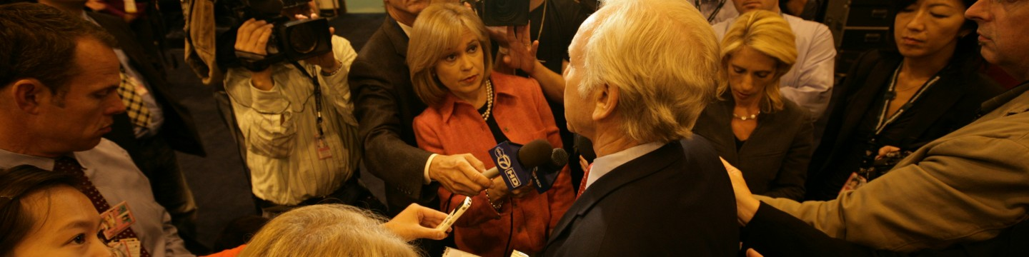 Senator Joe Lieberman talk with the press