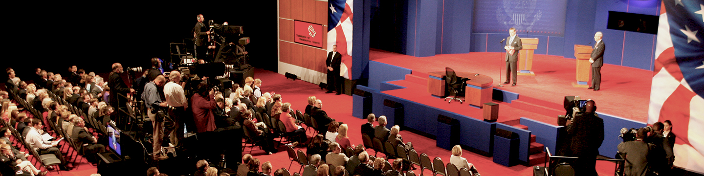 A view of the stage at the 2008 vice presidential debate at Washington University.