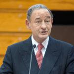 Chancellor Mark S. Wrighton at podium delivering speech.