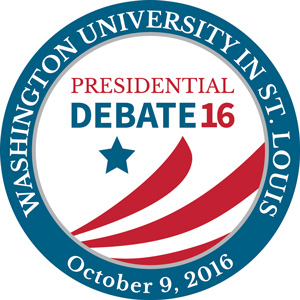 circle logo for WashU Presidential Debate - October 9, 2016