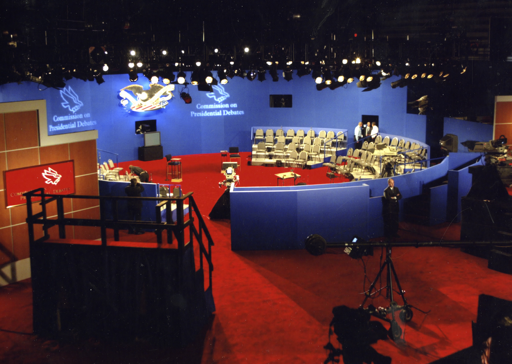 The debate set at Washington University in 2004. A similar town-hall format has been announced for the Oct. 9 debate.