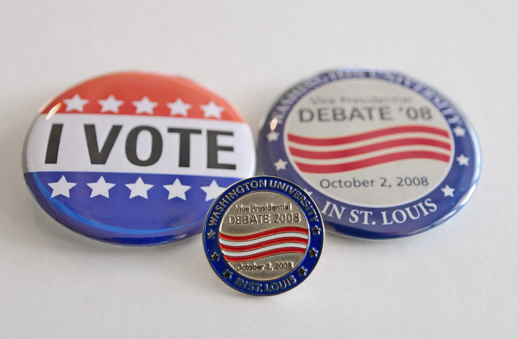 Buttons, bottles and bags: 24 years of debate swag