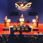 Candidate Ross Perot, Gov. Bill Clinton and Pres. George H.W. Bush debate on the campus of Washington University Oct. 11, 1992. (Photo: Washington University Archives)