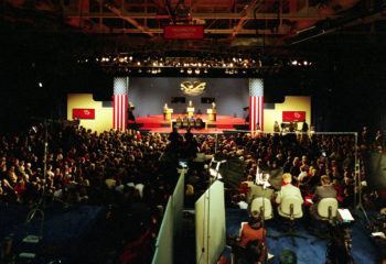 The Field House was packed on Oct. 11, 1992, thanks to a tremendous effort by the entire Washington University Community,