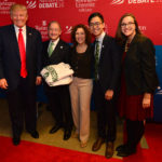 From right: Graduate Professional Council President Haley Dolosic, Student Union President Kenneth Sng, Risa Zwerling and Chancellor Mark S. Wrighton greet presidential candidate Donald Trump before the 2016 presidential debate at Washington University. (Photo: Joe Angeles/Washington University)