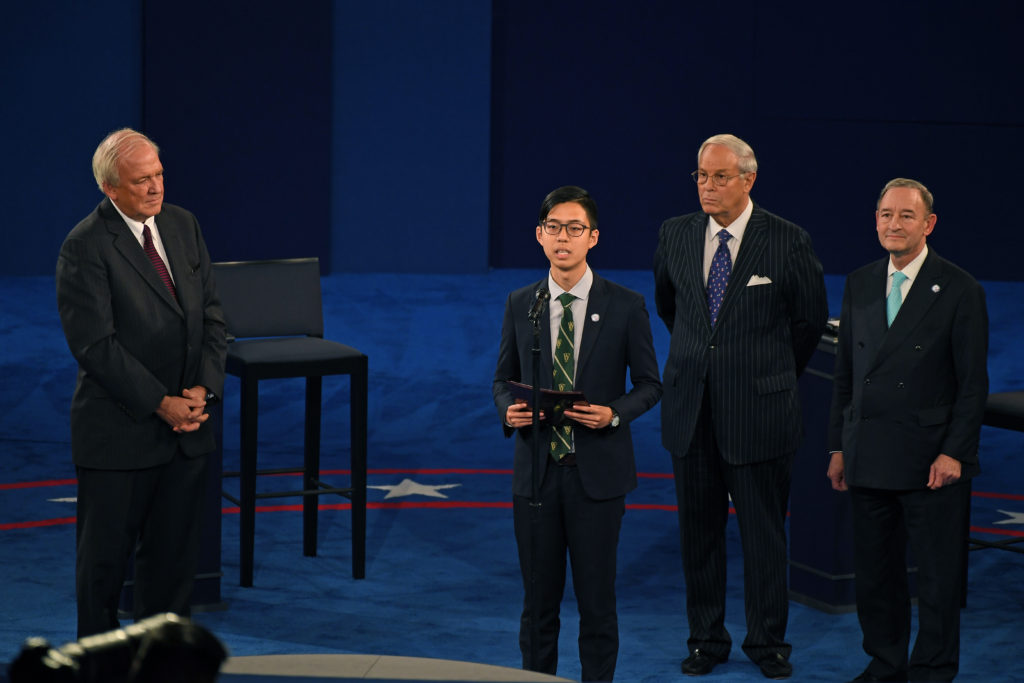 Student Union President Kenneth Sng addresses the audience prior to the start of the 2016 presidential debate at Washington University in St. Louis, Sunday, Oct. 9, 2016. (Photo: James Byard/Washington University)