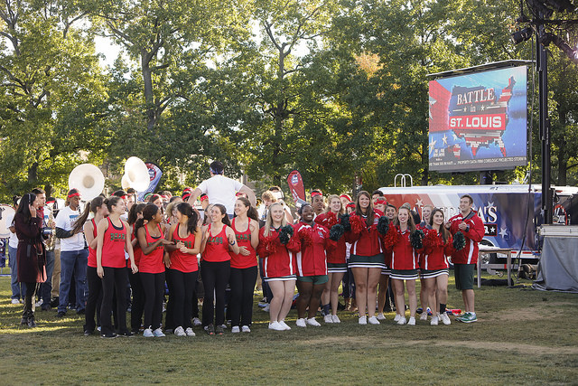 The cheerleaders and WashU Bear were adding a collegial ambience to the Fox & Friends broadcast Sunday morning. (Jerry Naunheim/Washington University)