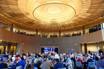 Alumni & Development sponsored a watch party in Hillman Hall. (Photo: Dan Donovan/Washington University)