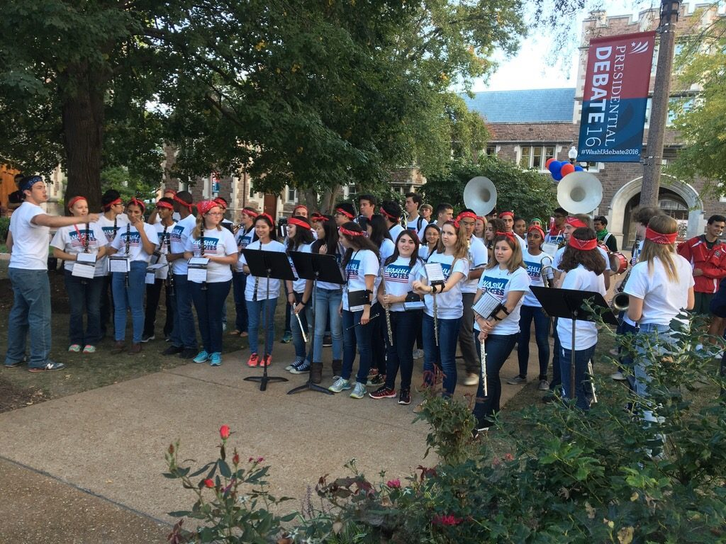 The Bear Nation Varsity Band also played for MSNBC later in the day. (Tom Malkowicz/Washington University)