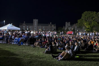 The Fox News Channel set broadcast the debate live, and students gathered on a beautiful night on Mudd Field to watch. (Photo: Whitney Curtis/Washington University)
